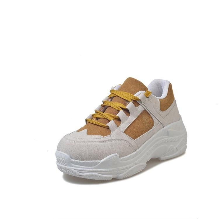 De Dentelle Casual Femmes À Mode Vulcaniser Hiver Épaisses up attaché Gris Solide forme Chaussures Plate Respirant Sneakers jaune Couture Croix Semelles nqq1wIrp