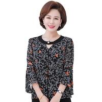 Women Romantic Blouses Summer Three Quarter Ruffle Sleeve Chiffon Tops Female Round Collar Red Black Flower Print Tunic Shirt XL