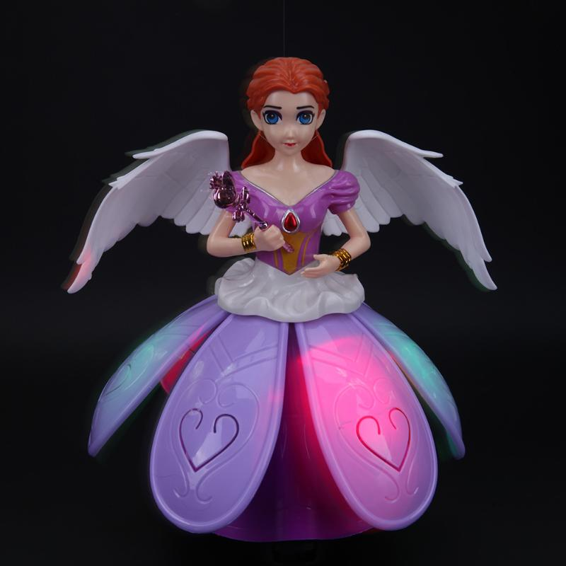 Electric Rotating Princess Dancing Light Music Doll Toy 3D Simulation Baby Doll Beautiful Revolving Angels Kids Birthday Gift