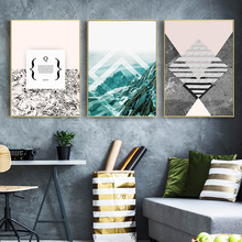 Modern Minimalistic Abstract Geometric Landscape Snow Mountain English Pattern Canvas Art Print Poster Picture Wall Home Decor