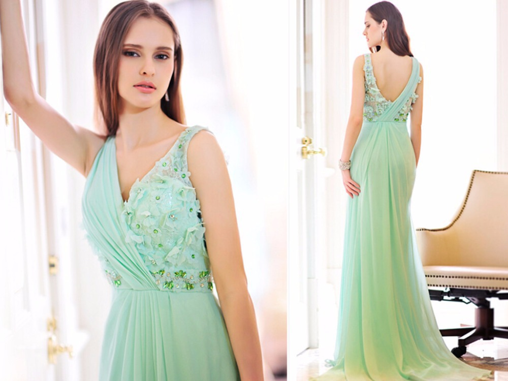 summer custom-made beading flowers New fashion v-neck crystal long   prom     dresses   2016 new hot sexy evening gowns free shipping