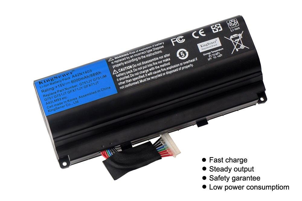 KingSener 15V 6000 мА/ч, ячеечная A42N1403 Батарея для ASUS ROG G751 G751JY G751JM G751JT GFX71 GFX71JY GFX71JT A42LM9H A42LM93