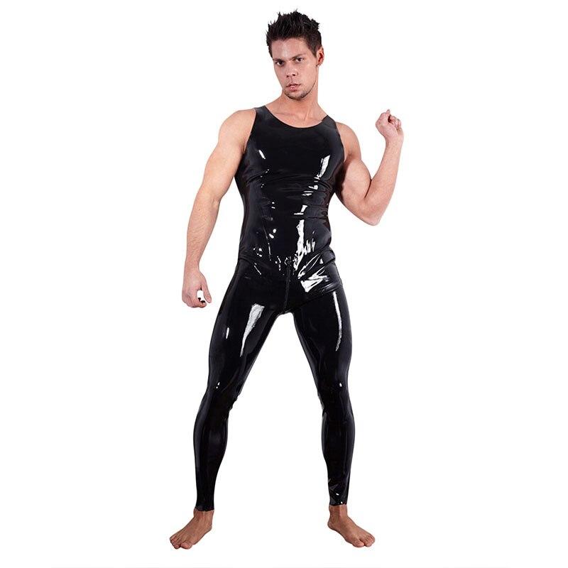 Grande taille M-XXL Wetlook Body complet hommes Faux cuir moulante salopette brillant avant fermeture à glissière à l'arrière Catsuit Body