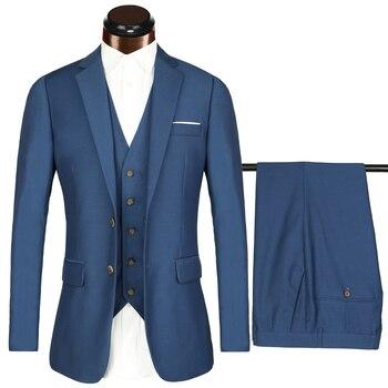 332ec9677 Trajes azules tamaño europeo grande 2018 trajes de marca para hombre novio  de boda 3 unidades (chaqueta + chaleco + pantalón) traje de esmoquin Casual  ...