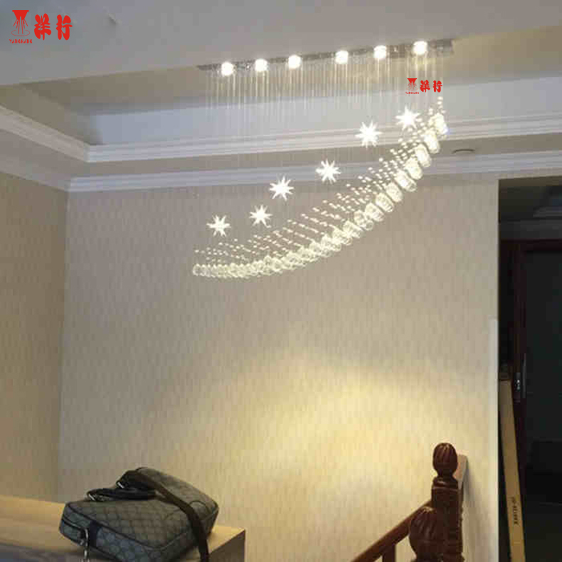 LED chandelier home staircase lamp K9 Crystal Lighting chandelier crystal hanging wire modern crystal chandelier for living room modern crystal chandelier led hanging lighting european style glass chandeliers light for living dining room restaurant decor