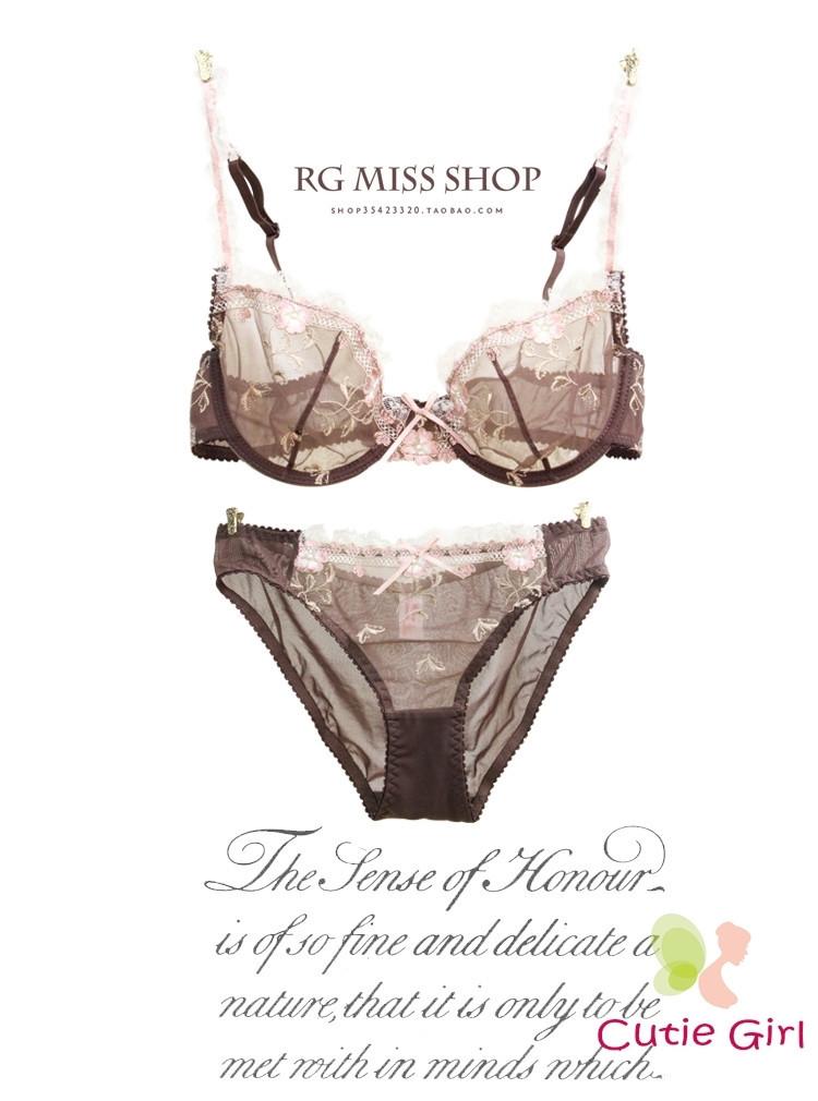 Bra & Brief Sets Free shipping Exquisite ultrathin hot sexy lace embroidery transparent underwear bra set women bra sets 1