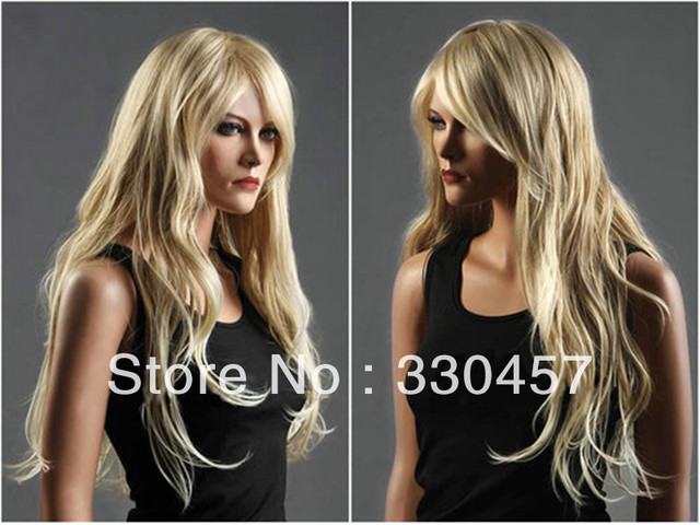 Charming Long Womens Healthy Wave Curly Blonde Wig Wigs+free wig cap