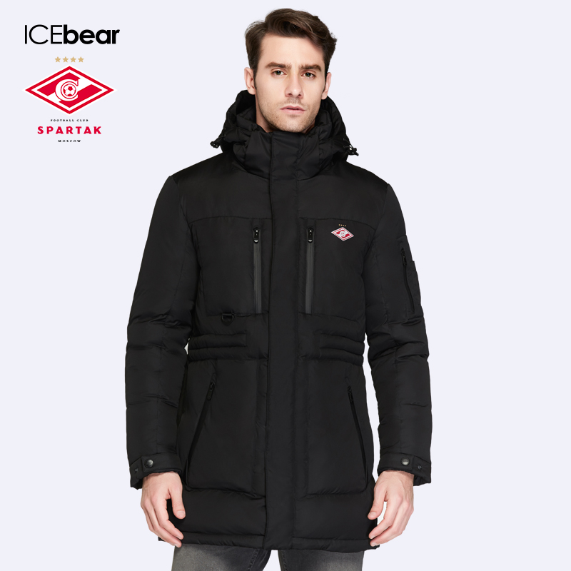 SPARTAK-ICEbear Joint Production 2016 New Winter Collection Bio Down Medium Length Mens Hooded Warm Jacket 16M908D
