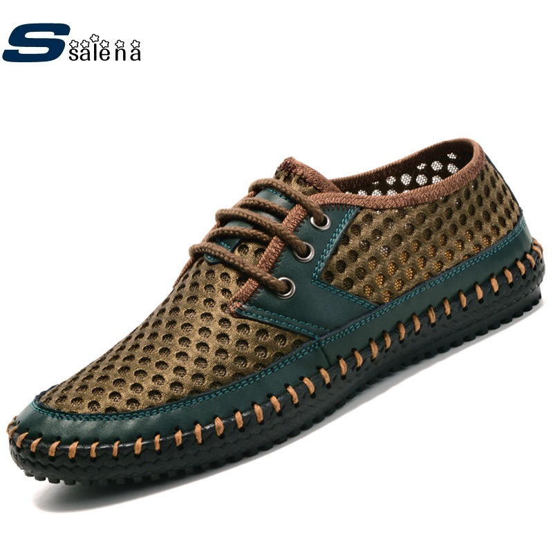 Summer Men Honeycomb Fashion Trends Beach Shoes Men Leather Mesh Breathable Shoes B564 In Men 39 S