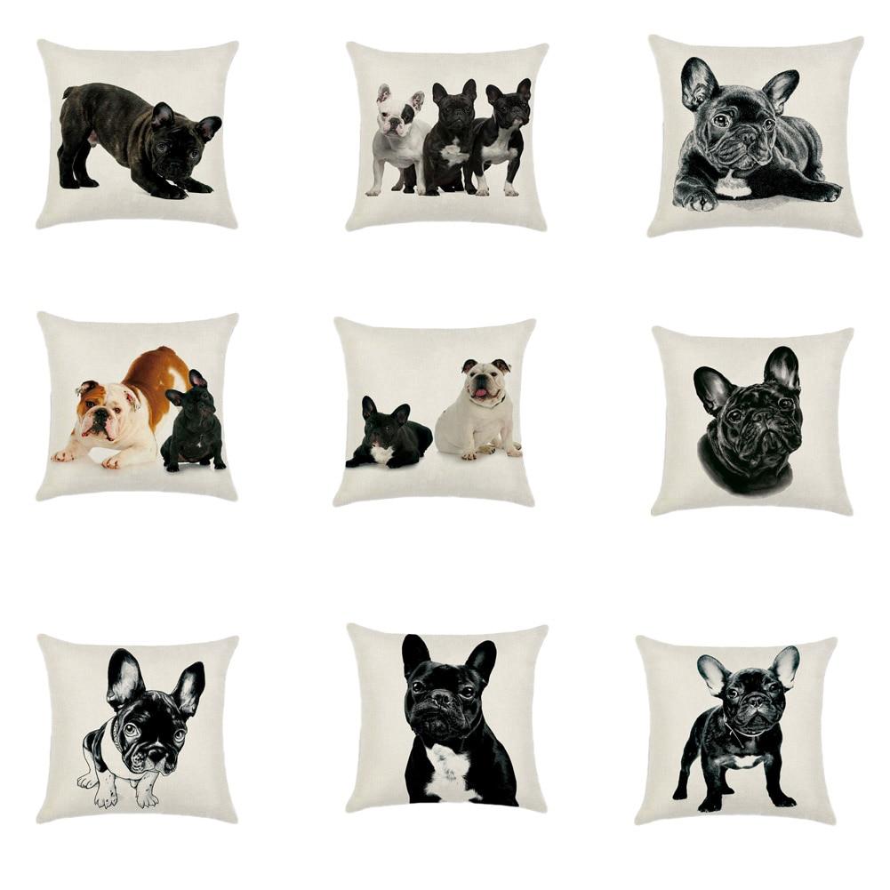1Pcs! Bulldog Husky Dachshund Cushion Cotton Linen Pillowcase Decorative Pillows Use For Home Sofa Car Office Almofadas Cojines