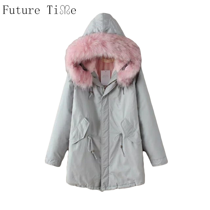 Future Time Winter Jacket Women 2017 Down Parka Pink Collar Cotton Padded Coat Fur Hooded Outwear Sleeve Winter Coat Women PU020 future time winter jacket women 2017 down parka pink collar cotton padded coat fur hooded outwear sleeve winter coat women pu020