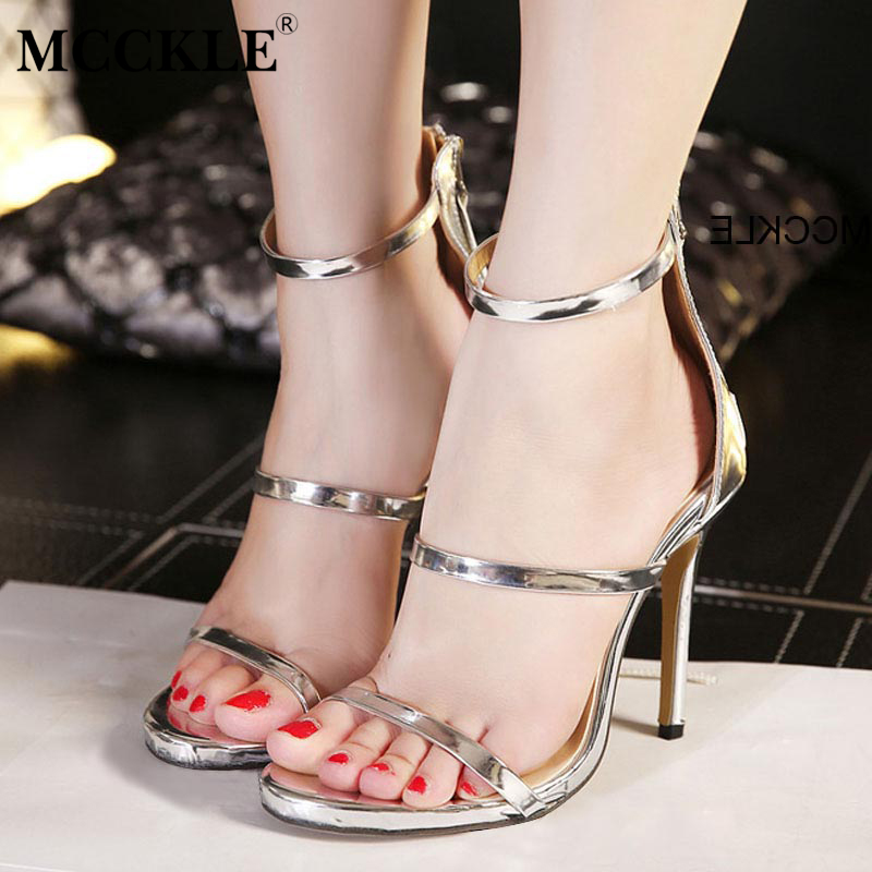Summer Sandals Women 2017 New  Shoes Woman Thin High Heel Back Zipper Fashion Casual Gold Silver Size fashion summer apricot sandals charming multi buckles design woman high heels ankle buckles cover heel back zipper free ship