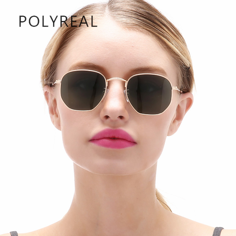 POLYREAL Fashion Vintage Polarized Hexagonal Sunglasses Men Driver Brand Designer Women Mirror Shades Sun Glasses Unisex