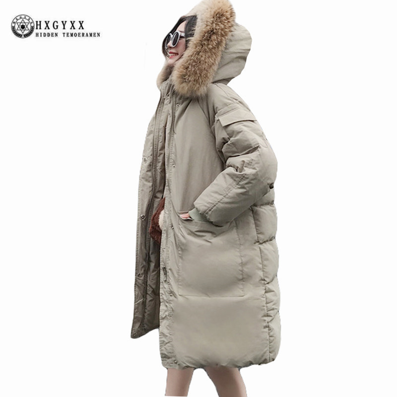 Thick Warm Long Winter Parka Woman Military Coat Plus Size Loose Casual Fur Collar Oversized Jacket Hooded Snow Outerwear Okb362 2015 new hot winter cold warm woman down jacket coat parkas outerwear hooded loose luxury long plus size 2xxl splice cloak