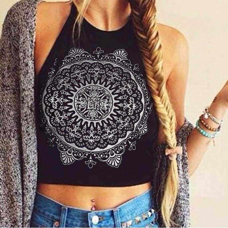 White/Black Camis Women Tops 2019 Summer Women Backless Sexy Cropped Tops Mandala Printed Sleeveless Halter Top Tank Crop Tops