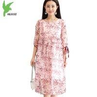 Silkworm Silk Dress Women Summer Printed Dress New Fashion Plus size Loose Silk Dress Female Medium length Pullover OKXGNZ 1614