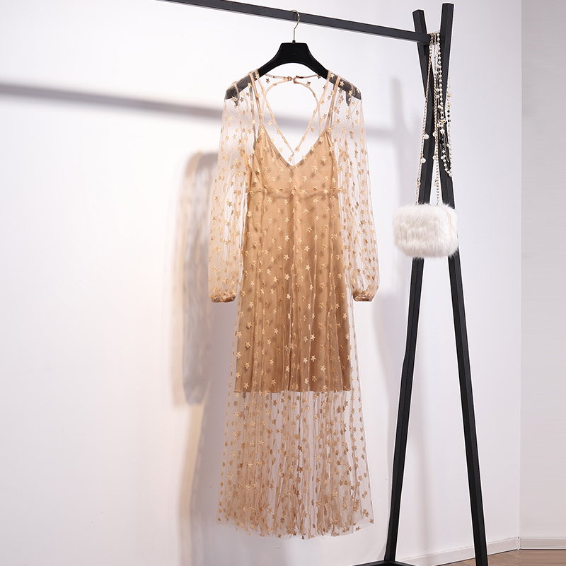 Nouveau 2019 très fée sanya plage robe femme bord de mer sur gaze blanche dos nu deux pièces broderie super étoiles robe