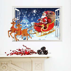 Santa Claus Christmas 3D Window Decorative Wall Stickers For Living Room Bedroom Decorations DIY Home Xmas PVC Mural Art Posters