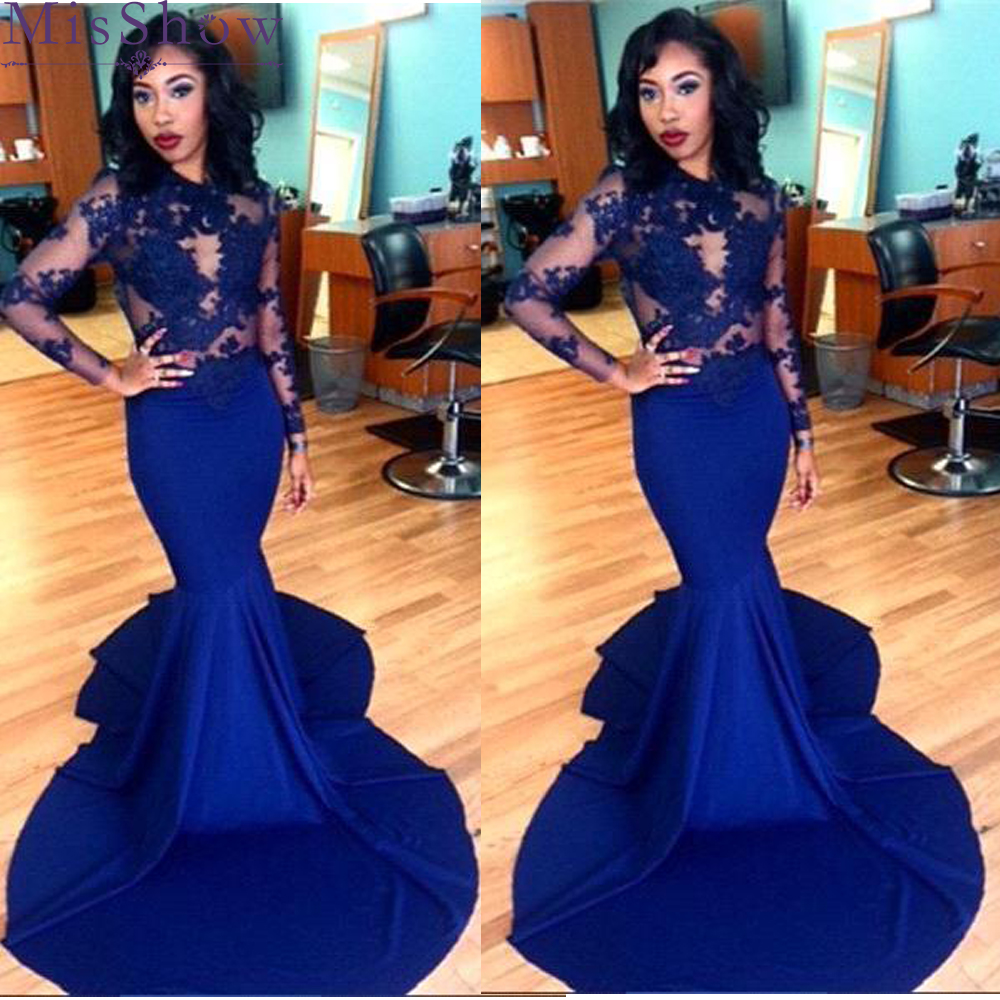 Sexy Women Long Mermaid   Prom     Dresses   2019 Red Royal Blue Split Side Satin Long Sleeve   Prom   Party   Dresses   Applique Evening   Dress