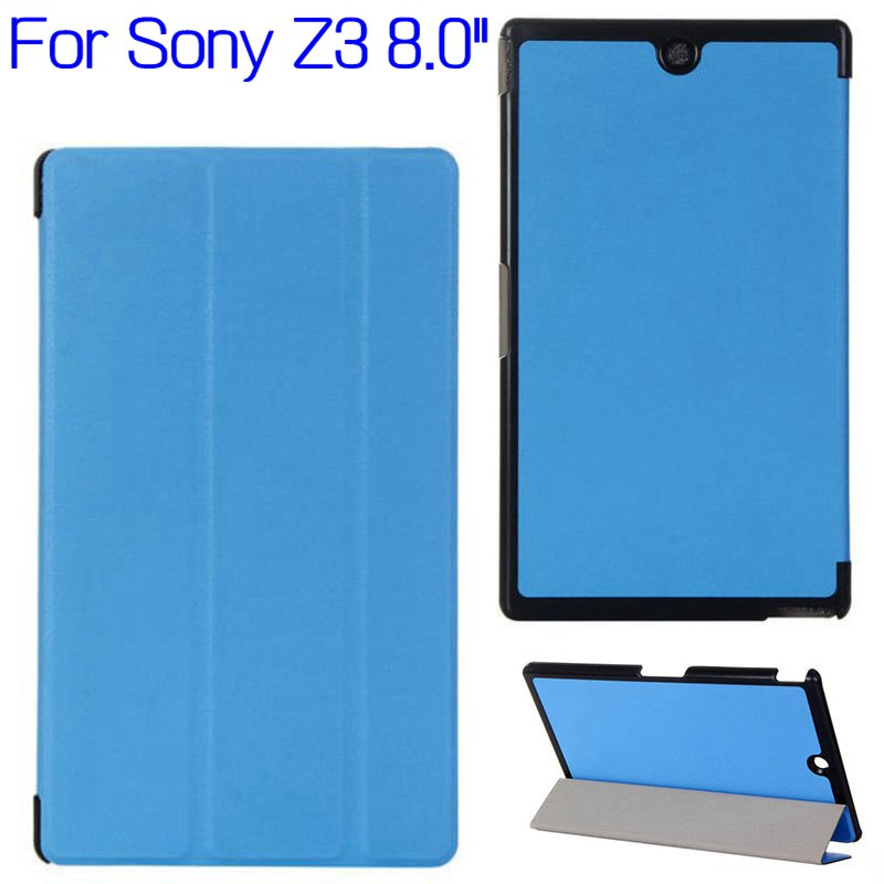 Top Quality Stand Foliding Flip Smart PU Leather Cover Case For Sony Xperia Z3 8.0 Inch Tablet +Free Screen Protector+Stylus Pen