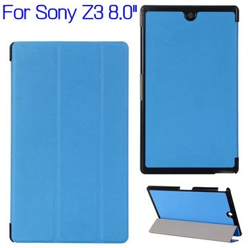 Top Quality Stand Foliding Flip Smart PU Leather Cover Case for Sony Xperia Z3 8.0 inch Tablet +Free Screen Protector+Stylus Pen image