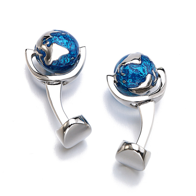 Globe Earth Cufflinks Blue Planet World Map Cuff Links Cufflink Gemelos
