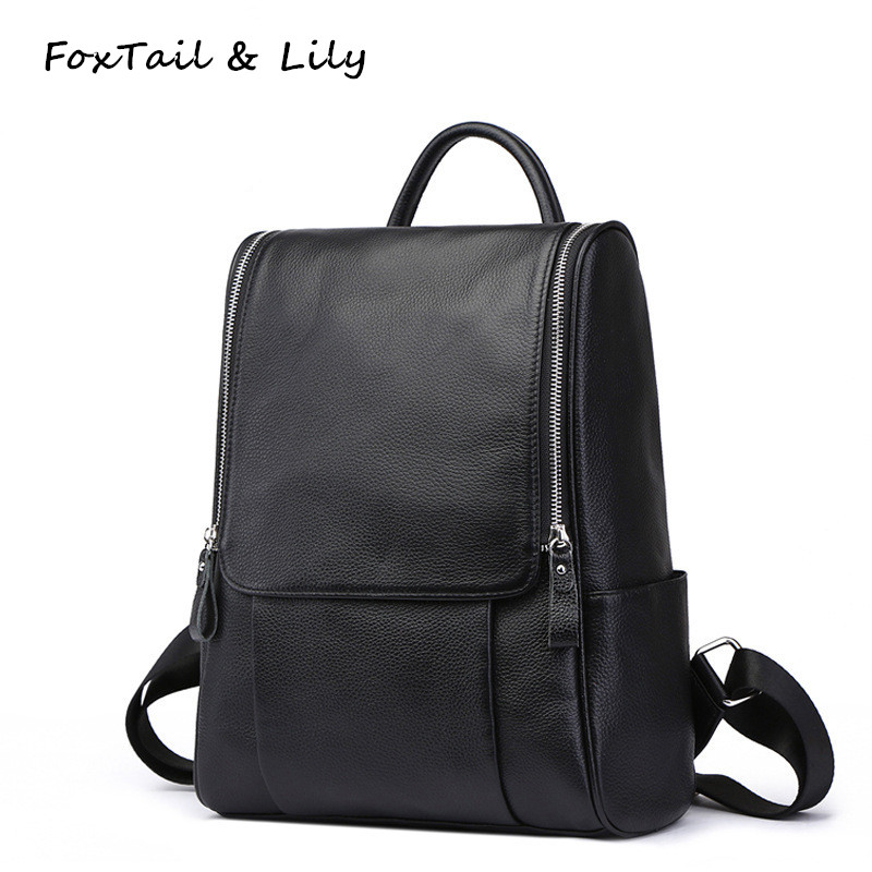 FoxTail & Lily 100% Real Soft Genuine Leather Women Backpacks Classic Black Fashion Daily Backpack School Shoulder Bag for Girls free shipping classic women palm springs backpack bag fashion brand canvas real leather bagsa