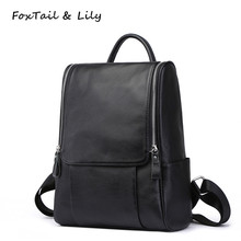 Лисохвост и лилии 100% реальная мягкая натуральная кожа женские рюкзаки Классические черные модные повседневные рюкзак Школьный Сумка для девочек