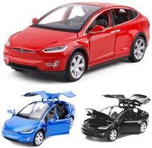 Coche en miniatura de aleación Tesla escala 1:32, modelo X de Metal fundido a presión, vehículos de juguete, coche con tracción trasera parpadeante Musical para regalos para bebé, Envío Gratis