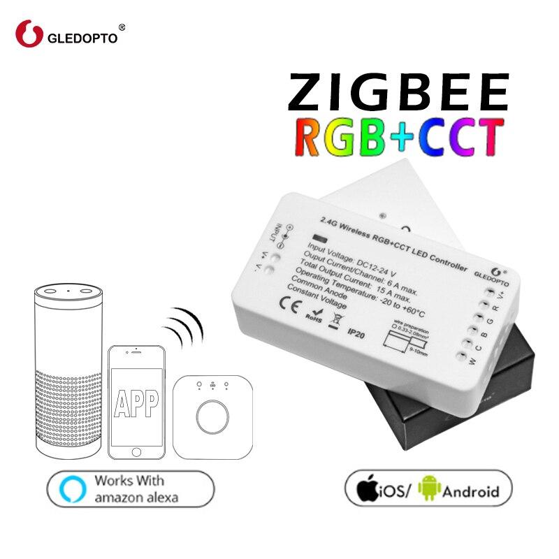 GLEDOPTO ZIGBEE Led Contrôleur RGB + CCT WW/CW zigbee contrôleur LED DC12-24V LED bande contrôleur zll app contrôleur RGBW rgb