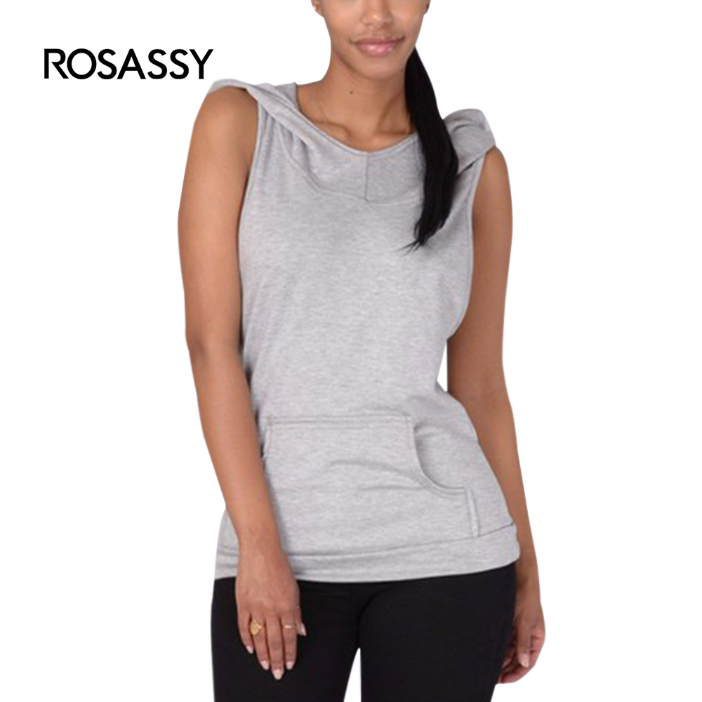 84ad6fe9278 ROSASSY Casual Women Dropped Armhole Tank Top sexy Sleeveless Hoodie Tee Shirts  Vest Fitness Hooded llady Sweatshirt