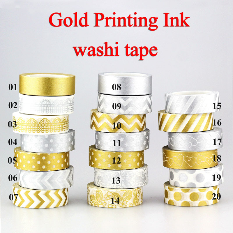 1X 10m Gold Silver Foil Washi Tape Set Scrapbooking Cute Kawaii Decorative Adhesive Japanese Masking Tape For Gift Packing