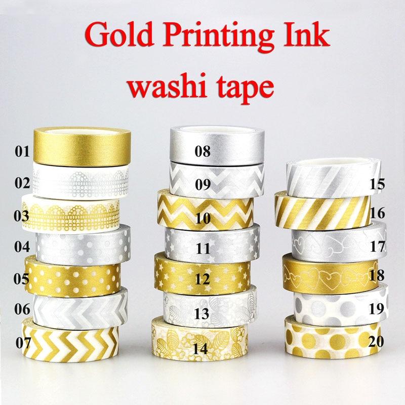 1X 10m Gold Silver Foil Washi Tape Set Scrapbooking Cute Kawaii Decorative Adhesive Japanese Masking Tape For Gift Packing
