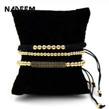 NADEEM Anil Arjandas Brand 3Pcs/Sets Mens Pave Setting Black CZ Bar Bracelet With 5mm Copper Bead Braiding Macrame Set