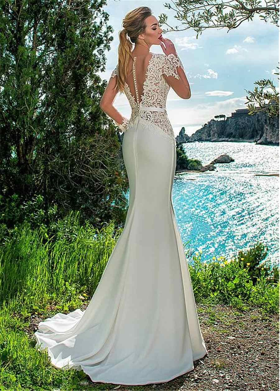 Elegante Colher Decote See-through Corpete Barato Mermaid Beach Vestido De Noiva 2019 Lace Apliques & Belt Mangas Compridas Nupcial vestido