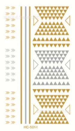 Silver Gold Hot Stamping Geometric Figure Tatoo Temporary Stickers Waterproof Tattoos HC-5014