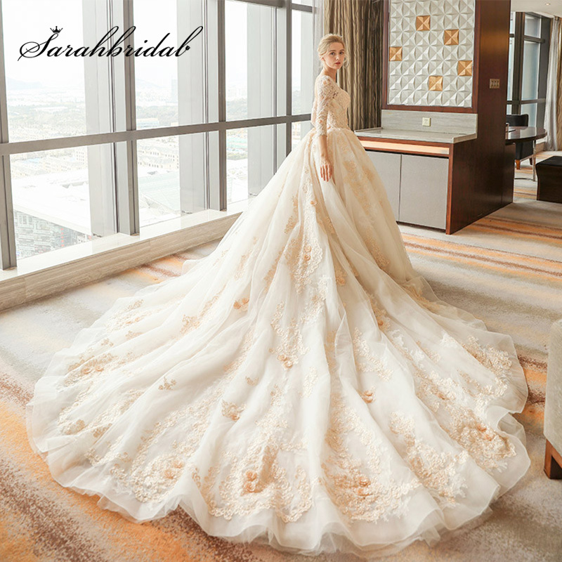 2019 Luxury Ball Gown Wedding Dresses With Royal Train