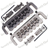 A Set Wraparound Adjustable 6 Saddle Bridge Tailpiece For LP Electric Guitar Replacement With Hex Screw