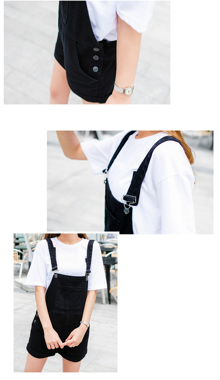 2018 summer large size women's black thin strap shorts fat mm cuff loose Korean plate stretch denim shorts (10)