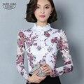 Novo 2017 Moda Blusa Mulheres Marca camisa Magro camisa Pirnted longo-sleeved Topos de renda Das Mulheres do sexo feminino blusa de renda Plus Size 4XL 36i 25