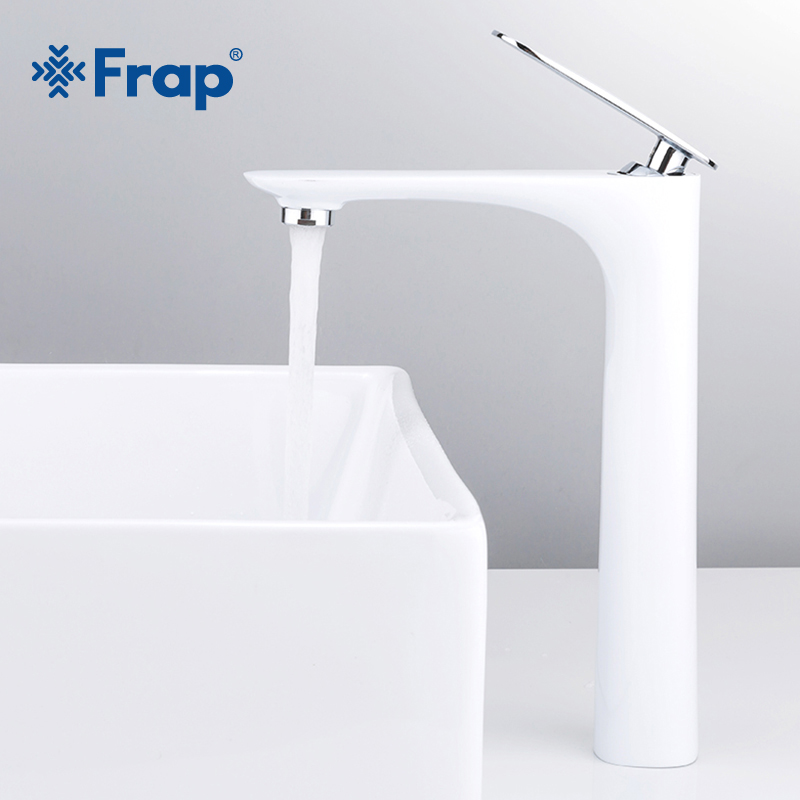 Frap Hot Sale Basin Faucets Modern White Bathroom Faucets Single Handle Cold and Hot Water Tap Basin Faucet Mixer Taps Y10042 frap modern style free shipping basin faucet cold and hot water mixer torneira da bacia single handle black white basin faucets