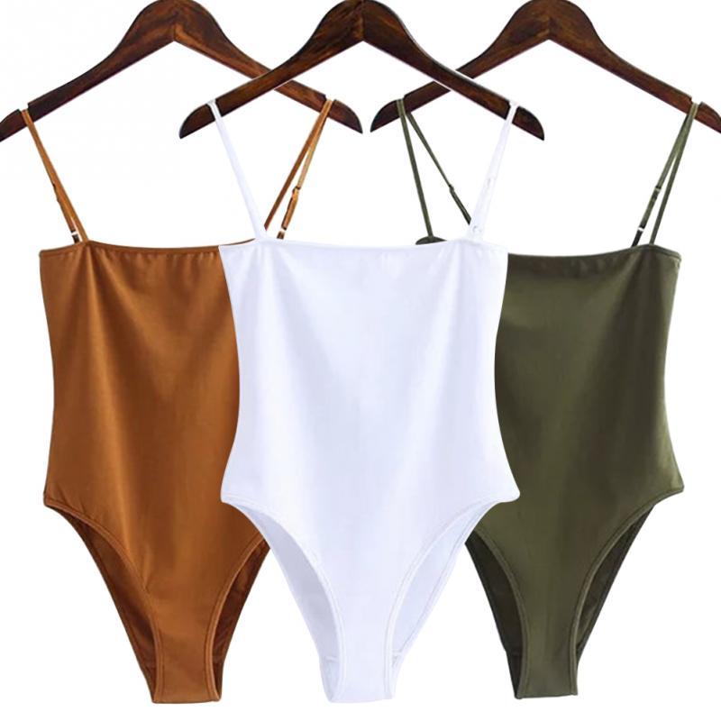 New Fashion Women Bodysuits Sexy Jumpsuit Off Shoulder Backless Spaghetti Strap Bodysuit Ladies Black Casual Cotton Bodysuits #2