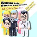 Горячие продажи USB Flash Drive Мультфильм Доктор Pen drive Медсестра стиль Pendrive Подарок USB Stick Реальная Емкость USB Flash Бесплатно доставка