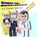 Hot sale USB Flash Drive Cartoon Doctor Pen drive Nurse Style Pendrive Gift USB Stick Real Capacity USB Flash Free Shipping