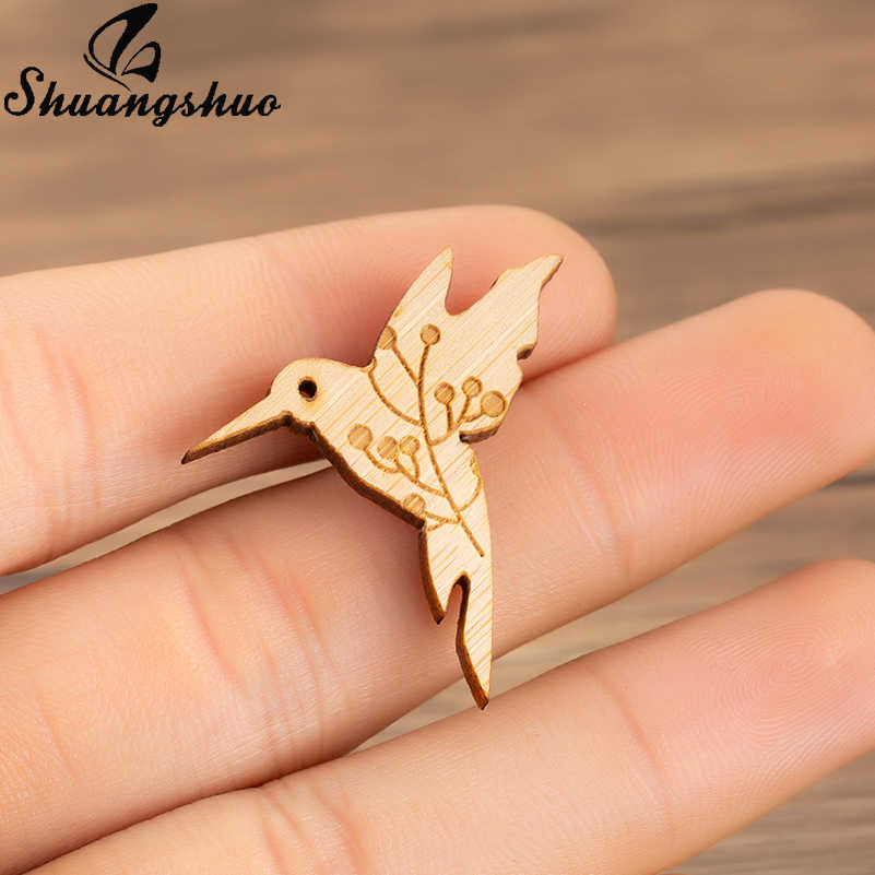 Shuangshuo Wooden Brooches Animal Birds Badge Enamel Pin Vintage Brooch for  Women Jewelry Accessories Sweater Decoration Pins