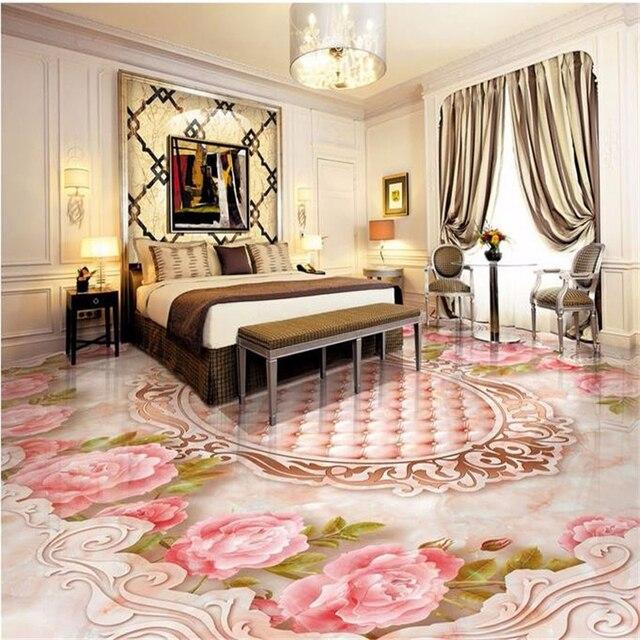 US $17.7 41% OFF Beibehang custom boden wand papier Weichen Rose relief  paket pvc boden fliesen tapete für badezimmer 3d boden wandbild 3d papier  ...