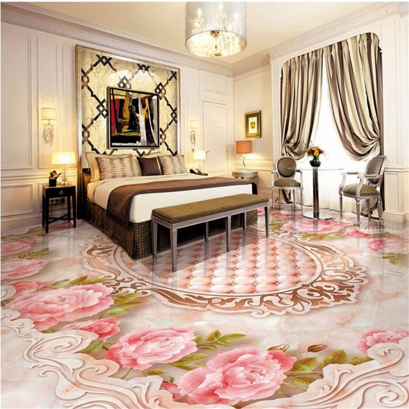 Beibehang Custom Floor Wall Paper Soft Rose Relief Package