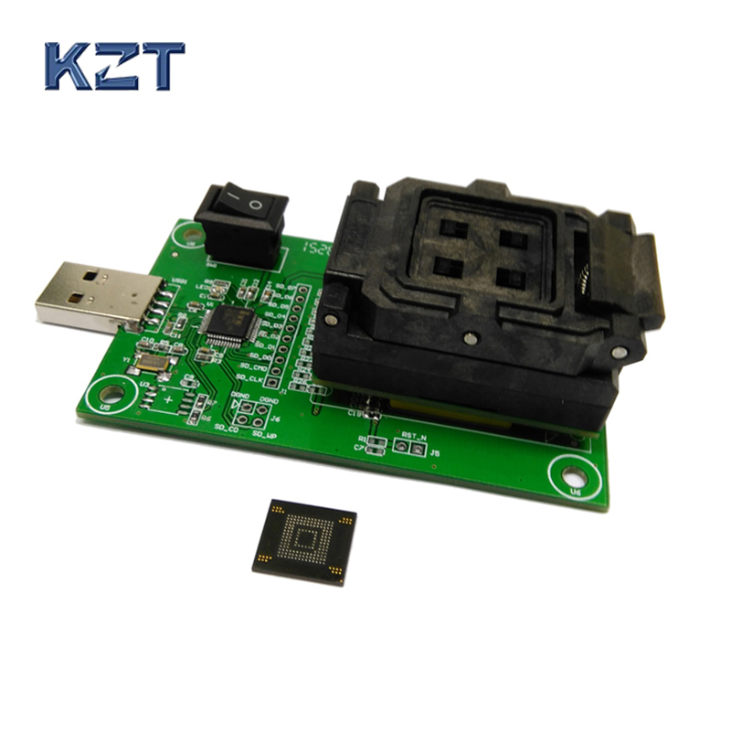 все цены на eMMC153/169 socket with USB nand flash test socket size 12x16 Pin Pitch 0.5mm for BGA169 BGA153 testing Clamshell Structure онлайн