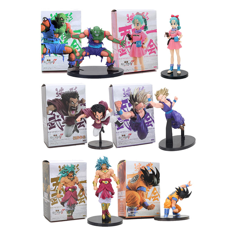6pcs set 13 18cm Dragon Ball Z Broly Hercule Son Gohan Son Goku Piccolo Action Figure