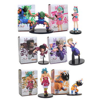 6pcs/set 13-18cm Dragon Ball Z Broly Hercule Son Gohan Son Goku Piccolo Action Figure Model Toy